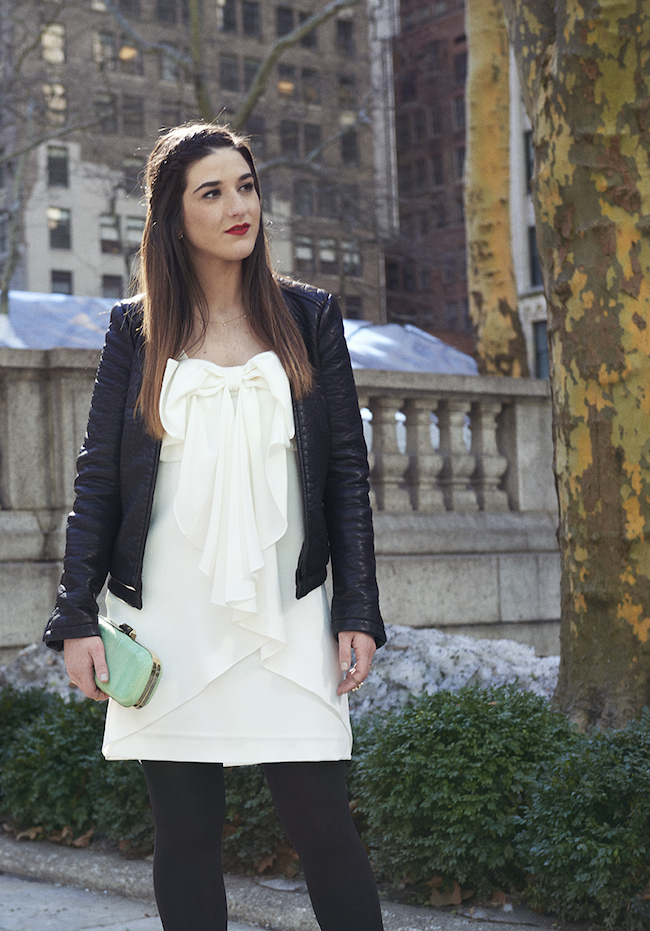White Bow Dress Louboutins and Love Fashion Blog Esther Santer Club Monaco teal snakeskin clutch purse summer style model Jcrew sunglasses Zara black leather jacket stilettos heels gold rings jewelry beautiful tights over the shoulders jacket outfit.jpg