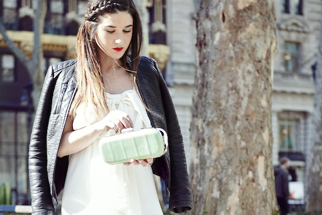 White Bow Dress Louboutins and Love Fashion Blog Esther Santer Club Monaco teal snakeskin clutch purse summer style model Jcrew sunglasses Zara black leather jacket stilettos heels gold rings jewelry tights over the shoulders jacket beautiful outfit.jpg