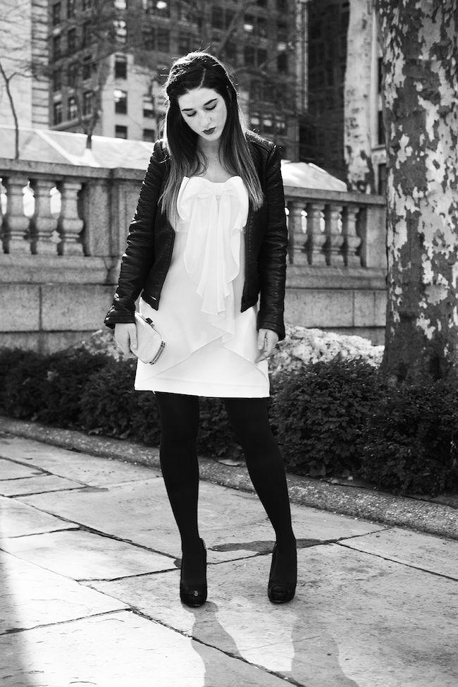 White Bow Dress Louboutins and Love Fashion Blog Esther Santer Club Monaco teal snakeskin clutch purse summer style model Jcrew sunglasses Zara black leather jacket stilettos heels gold rings jewelry tights over the shoulders outfit jacket beautiful.jpg