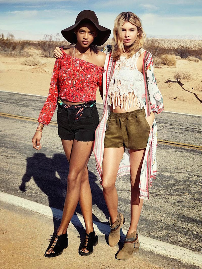 H&M Loves Coachella Collection Louboutins and Love Fashion Blog Esther Santer girls models modern hippie style music festival collaboration hat crochet floral headband peasant crop tops shorts pants maxi dresses kimono street shoes accessories sandals.jpg