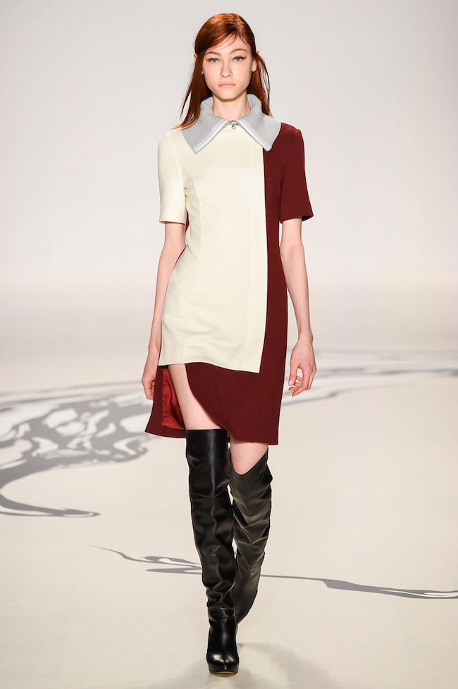 NYFW Lie Sangbong Fashion Show Fall:Winter 2015 Louboutins and Love Fashion Blog Esther Santer runway models dress sweater wool coat tailored skirt collar turtlneck winter style women wine beige black white neutral hair floral booties jacket boots red.jpg