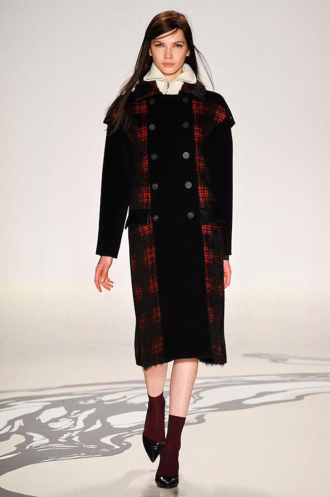 NYFW Lie Sangbong Fashion Show Fall:Winter 2015 Louboutins and Love Fashion Blog Esther Santer runway models dress sweater wool coat tailored skirt collar turtlneck winter style women wine beige black white neutral floral plaid outfit jacket boots red.jpg