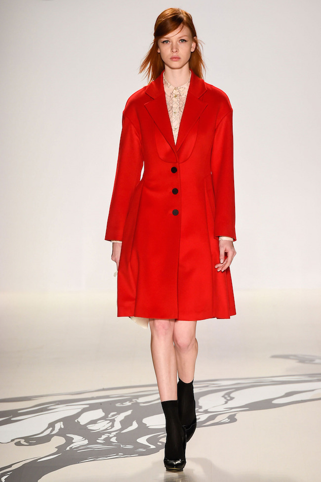 NYFW Lie Sangbong Fashion Show Fall:Winter 2015 Louboutins and Love Fashion Blog Esther Santer runway models dress sweater wool coat tailored skirt collar turtlneck winter style women wine beige black white neutrals MBFW Fashion Week jacket boots red.jpg