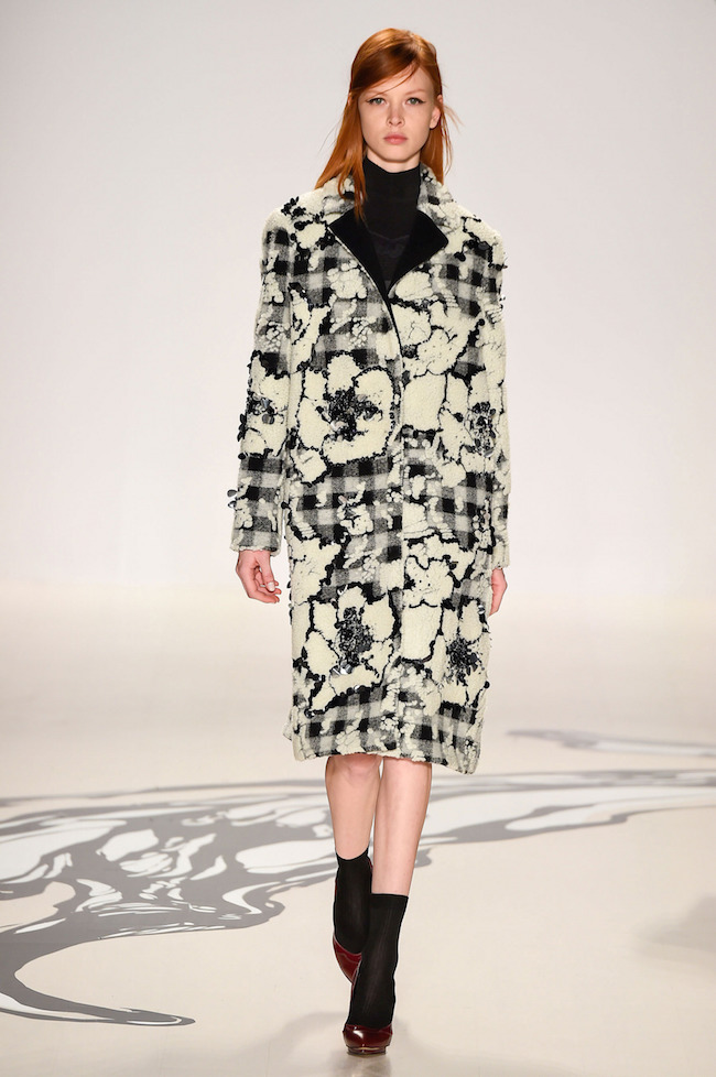 NYFW Lie Sangbong Fashion Show Fall:Winter 2015 Louboutins and Love Fashion Blog Esther Santer runway models dress sweater wool coat tailored skirt collar turtlneck winter style women wine beige black white neutral plaid floral outfit jacket boots red.jpg