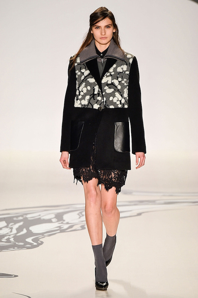 NYFW Lie Sangbong Fashion Show Fall:Winter 2015 Louboutins and Love Fashion Blog Esther Santer runway models dress sweater wool coat tailored skirt collar turtlneck winter style women wine beige black white neutral MBFW floral red leather jacket boots.jpg