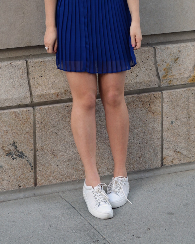 Cobalt Pleated Skirt and Leopard Belt Louboutins & Love Fashion Blog Esther Santer Shoulders Top Purple Colors Summer Spring Outfit OOTD White Sneakers Blue Topknot Hair Bun Model Photoshoot NYC New York City Girl Beautiful Shopping Women Street Style.JPG