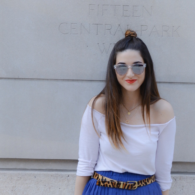 Cobalt Pleated Skirt and Leopard Belt Louboutins & Love Fashion Blog Esther Santer Shoulders Top Purple Colors Summer Spring Outfit OOTD White Sneakers Blue Topknot Hair Model Photoshoot NYC New York City Girl Sunglasses Beautiful Women Street Style.JPG