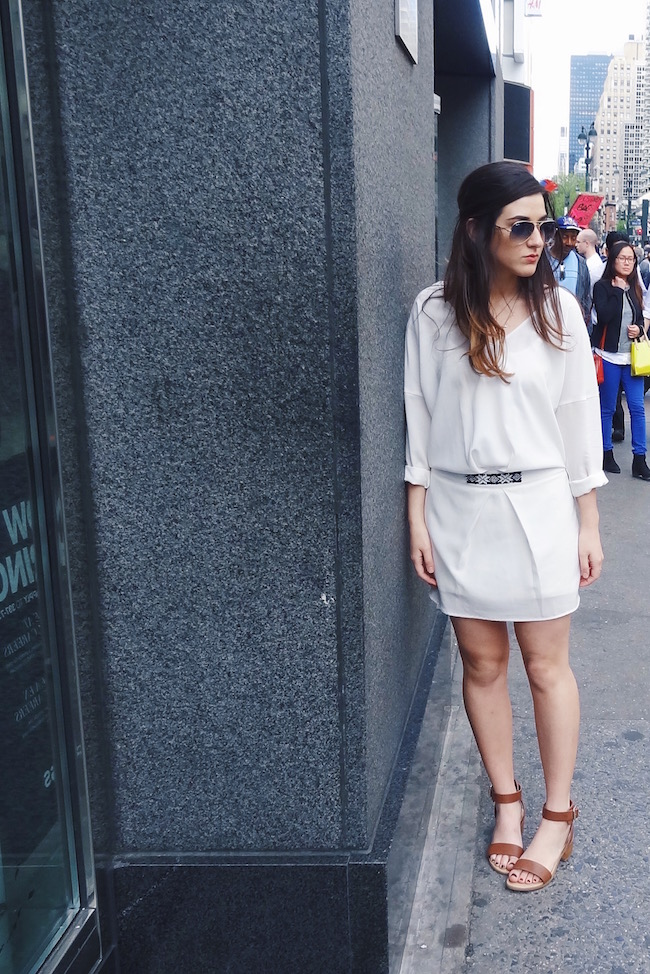 White Dress Aviators Louboutins & Love Fashion Blog L&L Esther Santer Street Style Blogger NYC Block Heels Sandals Camel Color Beaded Belt Black Sunglasses Outfit OOTD Gold Jewelry Necklaces Monogram Shoes Makeup Girl Photoshoot Swag Beautiful Hair.jpg