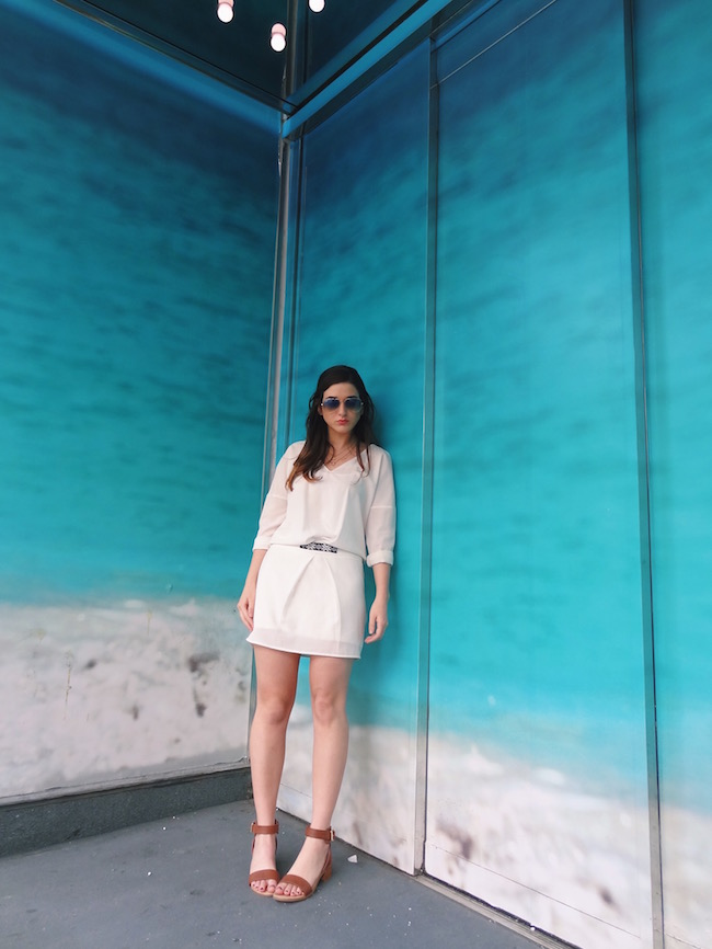 White Dress Aviators Louboutins & Love Fashion Blog L&L Esther Santer Street Style Blogger NYC Block Heels Sandals Camel Color Beaded Belt Black Sunglasses Outfit OOTD Gold Jewelry Necklaces Monogram Shoes Makeup Photoshoot Swag Hair Beautiful Girl.jpg