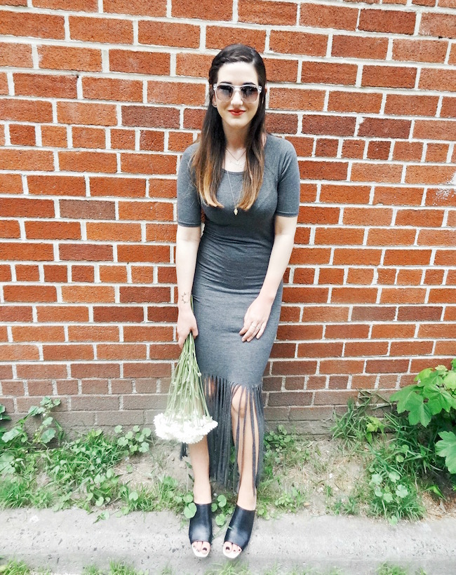 Leah & Pearl Grey Fringe Dress Louboutins & Love Fashion Blog Esther Santer Street Style Outfit OOTD Sunglasses Jcrew Mules Gold Black Zara Necklace Coco & Marie Flowers Summer Look Girl Model Photoshoot NYC Beautiful Trendy Swag Brunette Hair Women.JPG