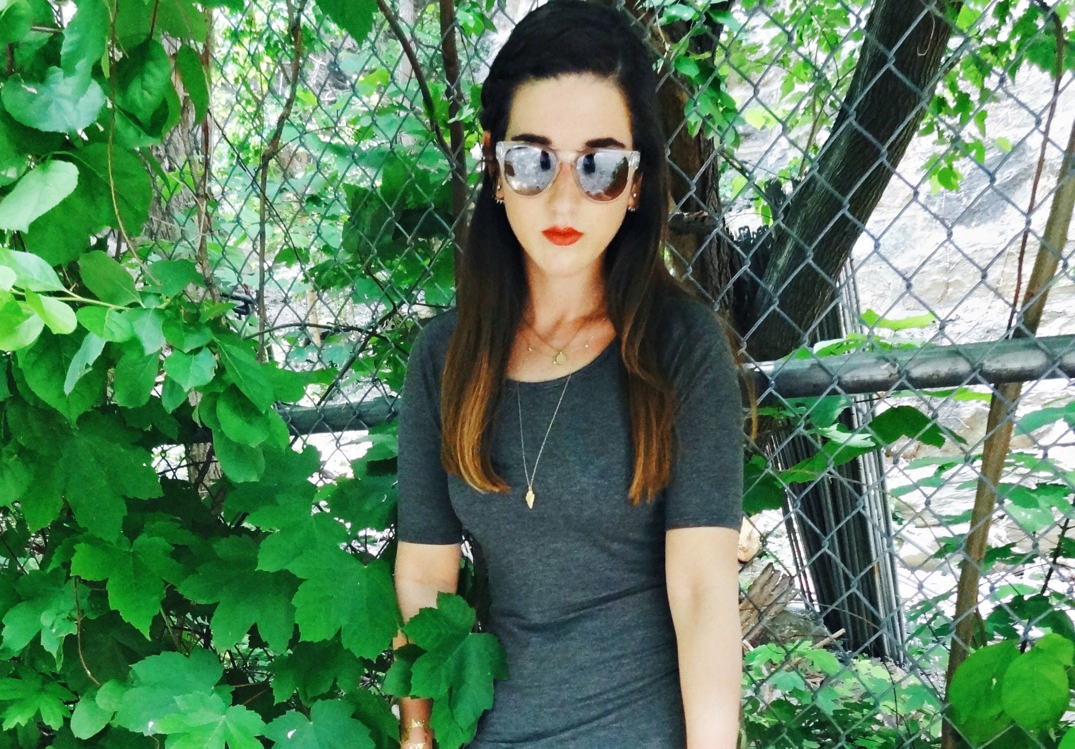 Leah & Pearl Grey Fringe Dress Louboutins & Love Fashion Blog Esther Santer Street Style Outfit OOTD Sunglasses Jcrew Mules Gold Black Zara Necklace Coco & Marie Flowers Summer Look Girl Model Photoshoot NYC Beautiful Brunette Trendy Swag Women.JPG