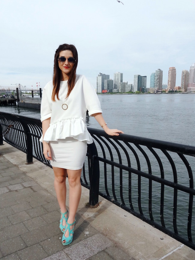 White Ruffled Top Leah & Pearl Louboutins & Love Fashion Blog Esther Santer Street Style Modest Neutral Look Teal Heels Pumps Sandals Shoes Zara Hair Ombre Monochrome Oufit Jcrew Sunglasses Rayban Girl NYC Women Model Shop NYC Skirt Pretty Inspiration.jpg