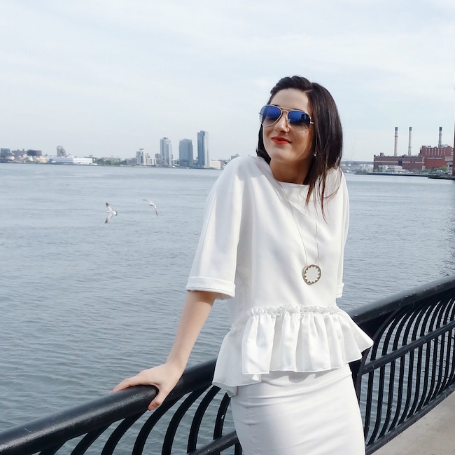 White Ruffled Top Leah & Pearl Louboutins & Love Fashion Blog Esther Santer Street Style Modest Neutral Look Teal Heels Pumps Sandals Shoes Zara Hair Ombre Monochrome Oufit OOTD Sunglasses Rayban Girl NYC Women Model Shop Buy Pretty NYC Inspiration.jpg
