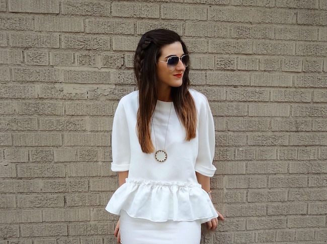 White Ruffled Top Leah & Pearl Louboutins & Love Fashion Blog Esther Santer Street Style Modest Neutral Look Teal Heels Pumps Sandals Shoes Zara Hair Ombre Monochrome Oufit OOTD Sunglasses Rayban Girl NYC Women Model Shop NYC Buy Pretty Inspiration.jpg