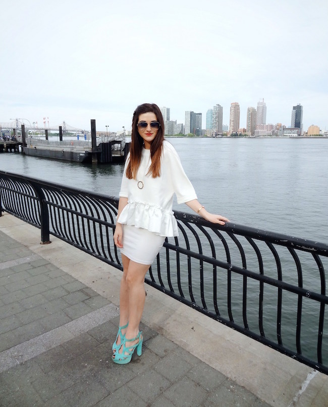 White Ruffled Top Leah & Pearl Louboutins & Love Fashion Blog Esther Santer Street Style Modest Neutral Look Teal Heels Pumps Sandals Shoes Zara Hair Ombre Monochrome Oufit OOTD Sunglasses Rayban Girl NYC Women Model Shop Buy NYC Pretty Inspiration.jpg