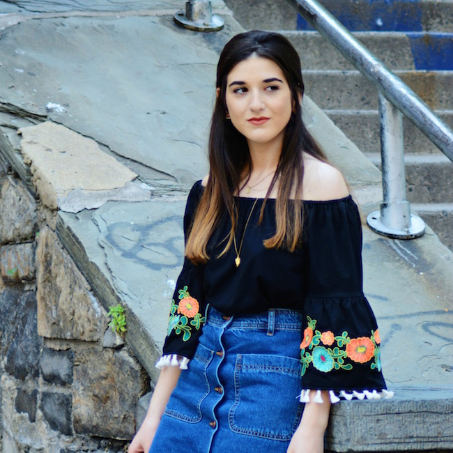 Floral Embroidered Top Daily Shoppe Louboutins & Love Fashion Blog Esther Santer Rayban Sunglasses Black Jean A-Line Skirt Denim Off The Shoulder Hair Brunette Model Photoshoot NYC Blogger OOTD Outfit Street Style Mules Gold Necklace Zara Stacked Heel.jpg