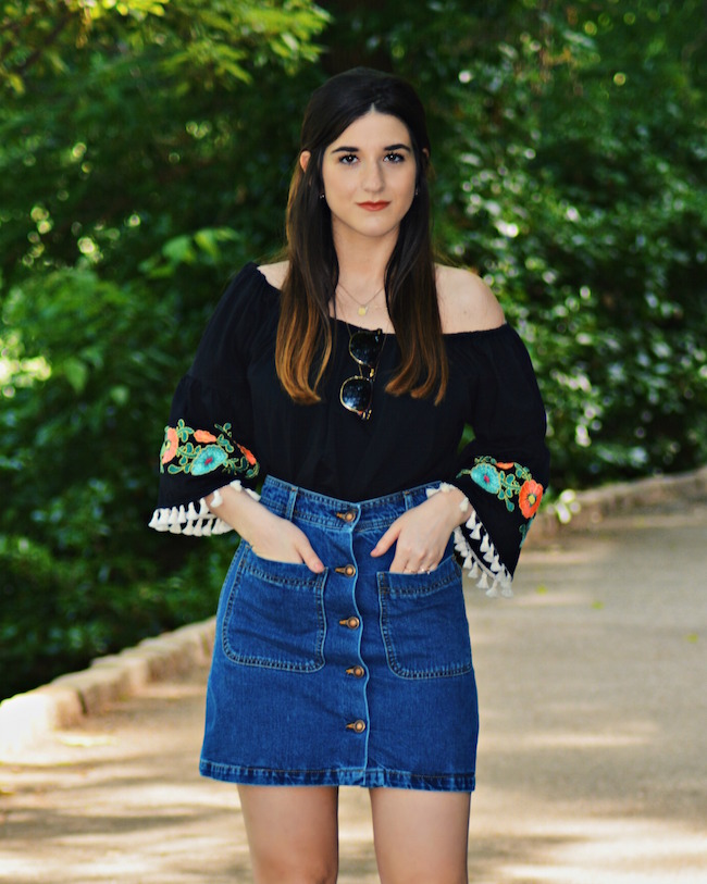 Floral Embroidered Top Daily Shoppe Louboutins & Love Fashion Blog Esther Santer Rayban Sunglasses Black Jean A-Line Skirt Denim Off The Shoulder Hair Brunette Model Photoshoot NYC Blogger OOTD Outfit Street Style Mules Gold Stacked Heel Zara Necklace.jpg
