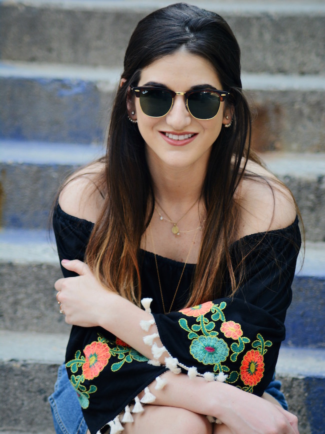 Floral Embroidered Top Daily Shoppe Louboutins & Love Fashion Blog Esther Santer Rayban Sunglasses Black Jean A-Line Skirt Denim Off The Shoulder Hair Brunette Model Photoshoot NYC Blogger OOTD Outfit Street Style Zara Mules Gold Necklace Stacked Heel.jpg