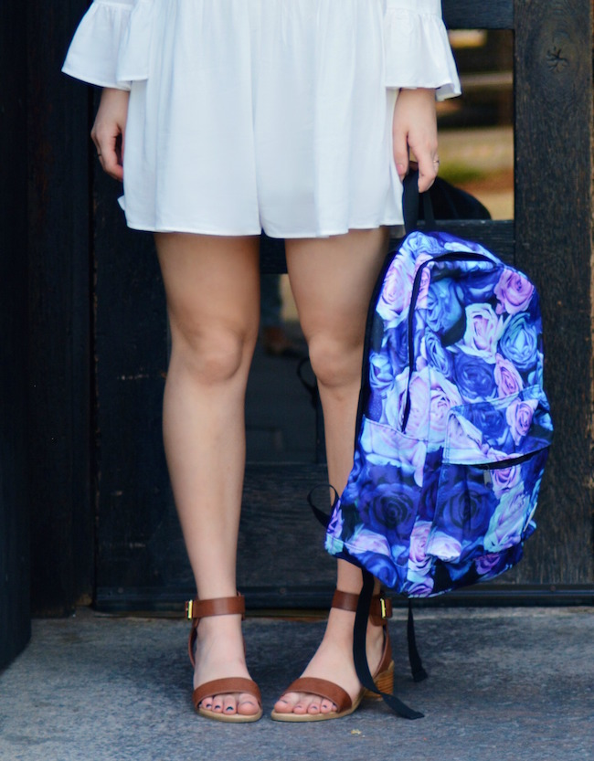 Floral Spiral Backpack Louboutins & Love Fashion Blog Esther Santer Summer Travel Street Style Blogger Trend White Dress Zara Romper Sandals 6pm Shoes Strappy Gold Bracelet Inspiration What To Pack Shopping Brunette Photoshoot Model NYC Outfit OOTD.jpg