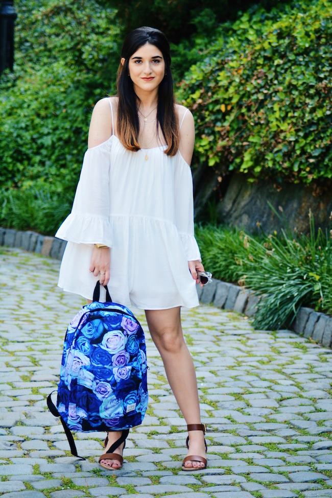 Floral Spiral Backpack Louboutins & Love Fashion Blog Esther Santer Summer Travel Street Style Blogger Trend White Dress Zara Romper Sandals 6pm Shoes Strappy Gold Bracelet Inspiration Women Girl Pack Shopping Brunette Photoshoot Model NYC OOTD Outfit.jpg