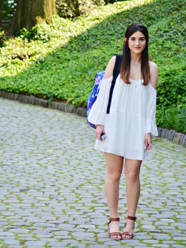 Floral Spiral Backpack Louboutins & Love Fashion Blog Esther Santer Summer Travel Street Style Blogger Trend White Dress Zara Romper Sandals 6pm Shoes Strappy Gold Bracelet Inspiration Women Girl Pack Shopping Brunette Photoshoot Model NYC Outfit OOTD.jpg