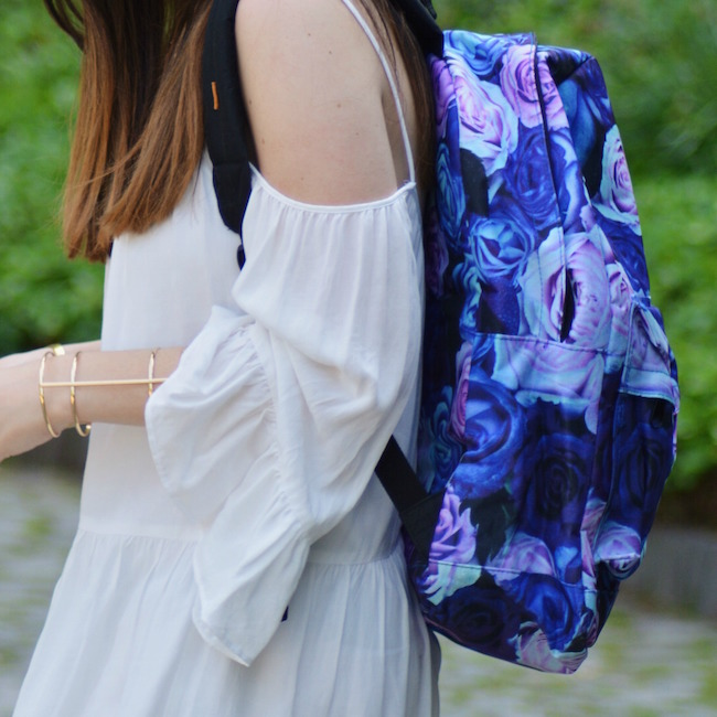 Floral Spiral Backpack Louboutins & Love Fashion Blog Esther Santer Summer Travel Street Style Blogger Trend White Dress Zara Romper Sandals 6pm Shoes Strappy Gold Bracelet Inspiration Women Girl Pack Shopping Brunette Photoshoot NYC Model Outfit OOTD.jpg