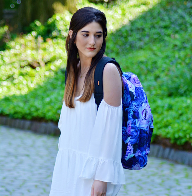 Floral Spiral Backpack Louboutins & Love Fashion Blog Esther Santer Summer Travel Street Style Blogger Trend White Dress Zara Romper Sandals Shoes Strappy Gold Bracelet Inspiration What To Pack Shopping Brunette Girl Photoshoot Model NYC Outfit OOTD.jpg