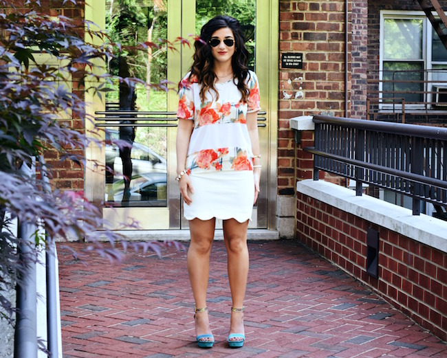 Rebecca Minkoff Floral Mesh Top Bandits of Colour Louboutins & Love Fashion Blog Esther Santer Street Style NYC Beautiful Outfit OOTD Red Blue White Scalloped Skirt Topshop Sunglasses Rayban Aviators Summer Look Shop Inspo Girl Vince Camuto Heels.jpg