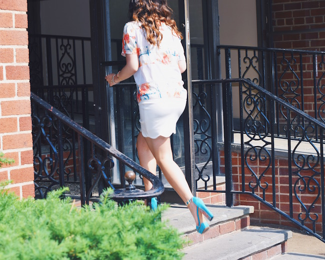Rebecca Minkoff Floral Mesh Top Bandits of Colour Louboutins & Love Fashion Blog Esther Santer Street Style NYC Beautiful Outfit OOTD Red Blue White Scalloped Skirt Topshop Sunglasses Rayban Aviators Summer Look Shop Inspo Vince Camuto Girl Heels.jpg