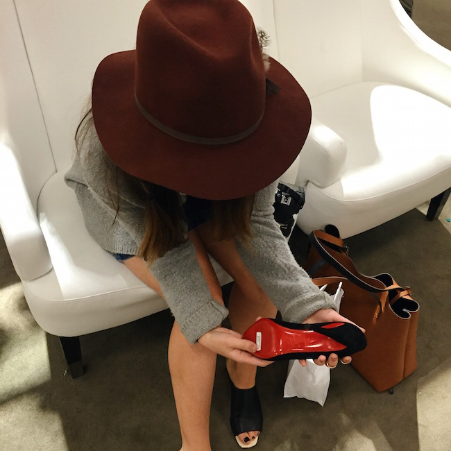Maroon Fedora Goorin Brothers Louboutins & Love Fashion Blog Esther Santer Product Review Outfit OOTD Floppy Hat NYC Tee Shirt Sweater Zara H&M Mules Gold Black Lord & Taylor Fitting Summer Season Shopping Jean Button Front Skirt Denim Street Style.jpg