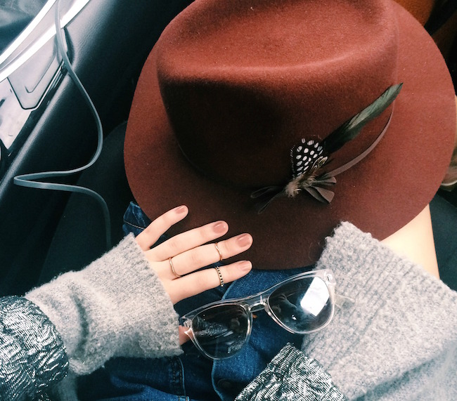 Maroon Fedora Goorin Brothers Louboutins & Love Fashion Blog Esther Santer Product Review Outfit OOTD Floppy Hat NYC Tee Shirt Sweater Zara H&M Mules Gold Black Lord & Taylor Fitting Summer Season Shopping Denim Jean Button Front Skirt Street Style.jpg