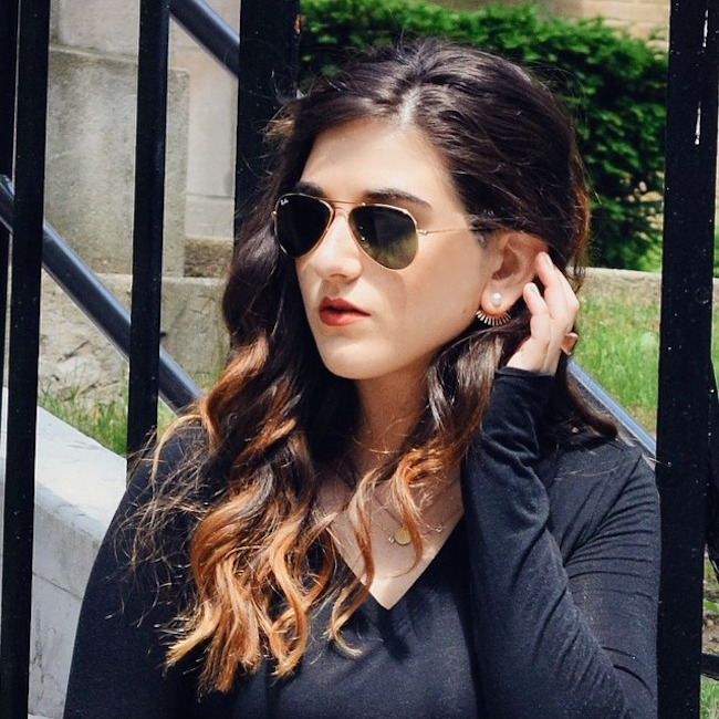 Gold Pearl N Spike Ear Jackets Bitz of Glitz Louboutins & Love Fashion Blog Esther Santer Earrings Jewelry Outfit OOTD Product Review Wavy Hair Brunette Girl Women Street Style Shopping Wear Pretty Model NYC Bracelet Shirt Floral Rayban Sunglasses.jpg