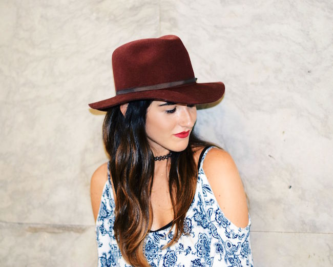 Off The Shoulder Dress Fedora Goorin Brothers Louboutins & Love Fashion Blog Esther Santer NYC Street Style Tattoo Choker Maroon Hat Summer Look Shopping Girl Women Brunette Rayban Aviators Wear Sandals Gold Bracelets OOTD Outfit Shoes Wedges Jewelry.jpg