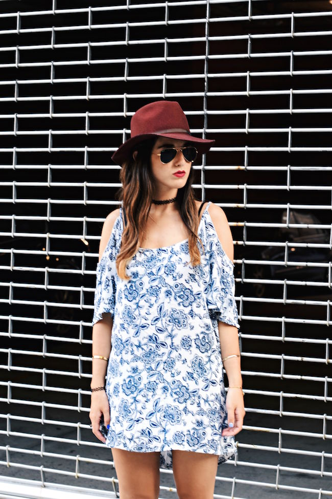 Off The Shoulder Dress Fedora Goorin Brothers Louboutins & Love Fashion Blog Esther Santer NYC Street Style Tattoo Choker Maroon Hat Summer Look Shopping Girl Women Brunette Rayban Aviators Wear Sandals Gold Bracelets Outfit OOTD Shoes Wedges Jewelry.jpg