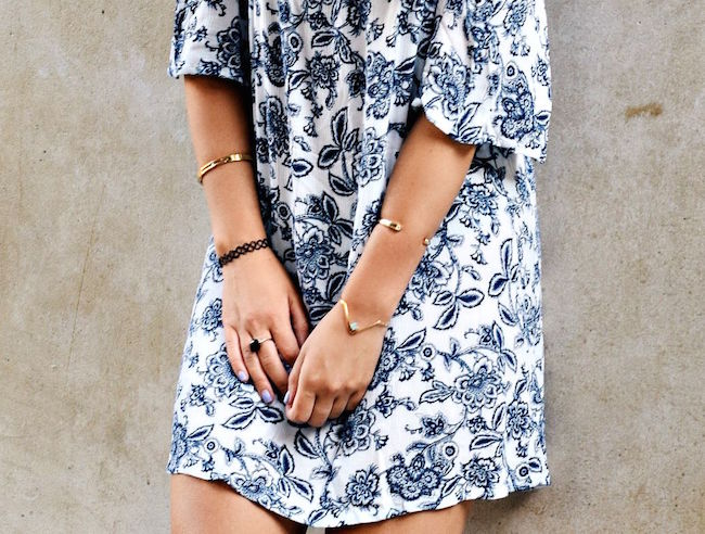 Off The Shoulder Dress Fedora Goorin Brothers Louboutins & Love Fashion Blog Esther Santer NYC Street Style Tattoo Choker Maroon Hat Summer Look Shopping Girl Women Brunette Rayban Aviators Wear Sandals Shoes Gold Bracelets Outfit OOTD Wedges Jewelry.jpg
