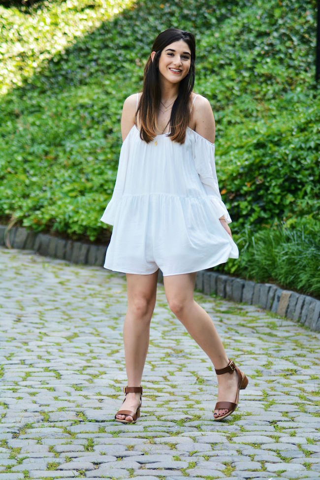 All White Look Zara Romper Louboutins & Love Fashion Blog Esther Santer NYC Street Style Blogger Pretty Photoshoot Lifestyle Girl Women Shopping Wear Necklace Gold Sandals Shoes Brunette Summer Cuff Bracelet Coco Marie Vacation Croatia Greece Shopping.jpg