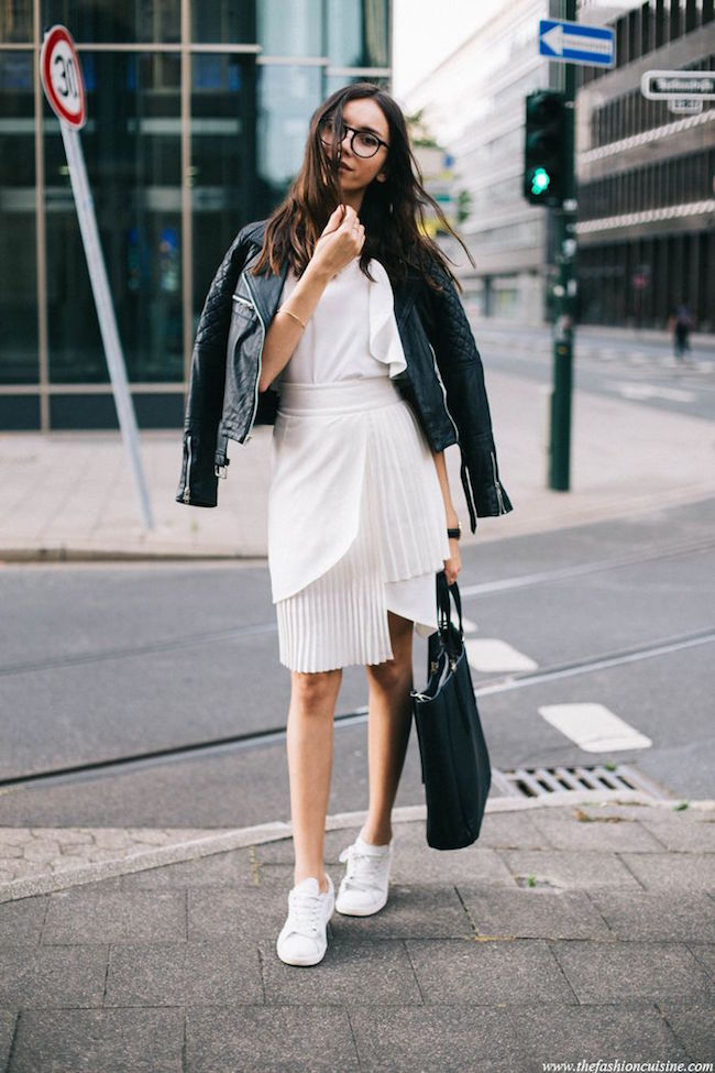 Best of Pinterest Summer Style Louboutins & Love Fashion Blog Esther Santer Hair Women Inspo Street Style Fashion Photography Repin Glam Obsessed Look Wearing Inspiration NYC NYC Blogger Jacket New York Topknot Ponytail Leather Skirt Back White Black.jpg
