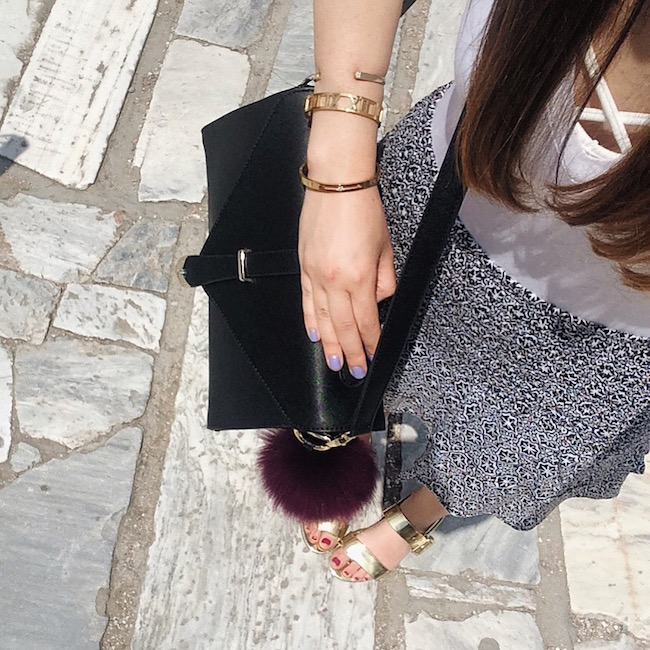 Tattoo Choker Gold Bangles Bag Furries Louboutins & Love Fashion Blog Esther Santer Street Style Athens Greece Travel Diaries Vacation Summer Lifestyle Bracelet PeachBox IfChic Purse Black Bag Sunglasses RayBan Aviators Cuff Bralette Necklace Girl NYC.jpg