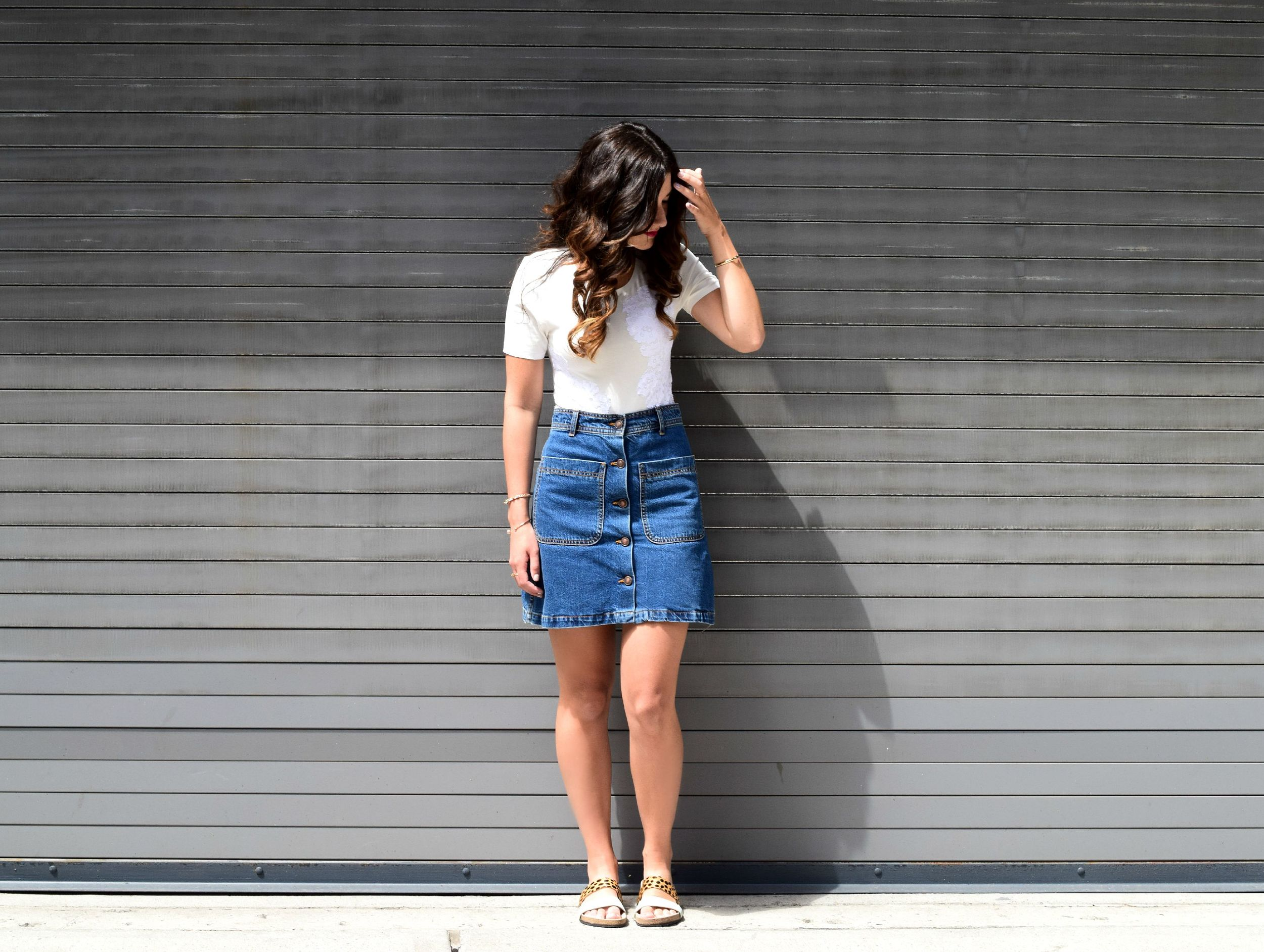 Cotton Lace Ivory Bodysuit Tuxe Louboutins & Love Fashion Blog Esther Santer NYC Street Style Blogger Lifestyle Summer Staple Wear Shopping Shirt Skirt Outfit OOTD Photoshoot Feminine Pretty Layering Model Beautiful Denim Zara Loeffler Randall Sandals.jpg