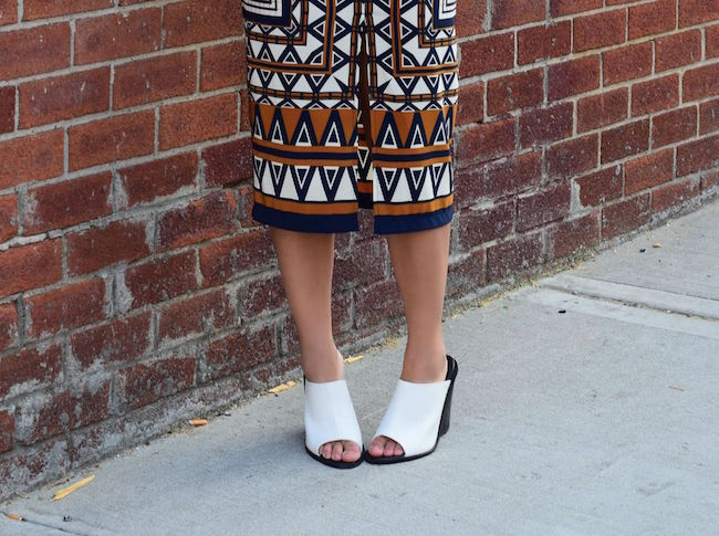Printed Skirt White Tee Topshop Louboutins & Love Fashion Blog Esther Santer Style Blogger NYC Shoes Shop Vintage Navy Blue Belt Bracelet Jewelry Gold V-Neck Outfit OOTD Girl Women Inspiration Photoshoot Mules Hair Inspo Street Style Aviators RayBan.jpg