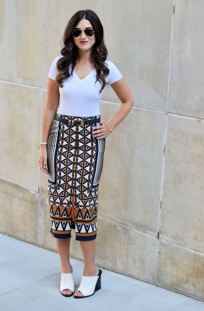 Printed Skirt White Tee Topshop Louboutins & Love Fashion Blog Esther Santer Style Blogger NYC Shoes Shop Vintage Navy Blue Belt Bracelet Jewelry Gold V-Neck Outfit OOTD Girl Women Inspiration Photoshoot Mules Hair Inspo Street Style Rayban Aviators.jpg