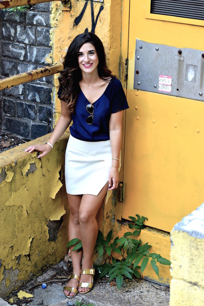 Navy Top White Pleather Skirt Louboutins & Love Fashion Blog Esther Santer Street Style Blogger NYC Photoshoot RayBan Aviators Sunglasses Summer Look Shopping Shirt Girl Model Hair Slit Blue Shoes Sandals Jewelry Gold Cuff Bracelet OOTD Outfit Wear.jpg