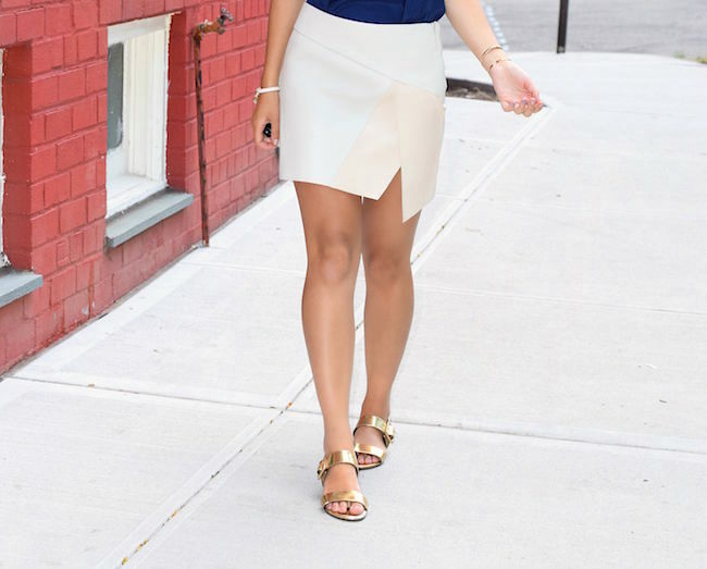 Navy Top White Pleather Skirt Louboutins & Love Fashion Blog Esther Santer Street Style Blogger NYC Photoshoot RayBan Aviators Sunglasses Summer Look Shopping Shirt Girl Model Hair Slit Blue Shoes Sandals Jewelry Gold Cuff Bracelet Wear OOTD Outfit.jpg
