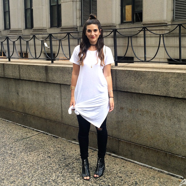 Currently Wearing New York Fashion Week SS16 Louboutins & Love Fashion Blog Esther Santer NYC NYFW OOTD Outfit Black White Minimal Modern Tattoo Choker White Knotted Skirt Dress Black Ripped Jeans Pants Gold Cuff Bracelet Jewelry Topknot Booties Inspo.JPG