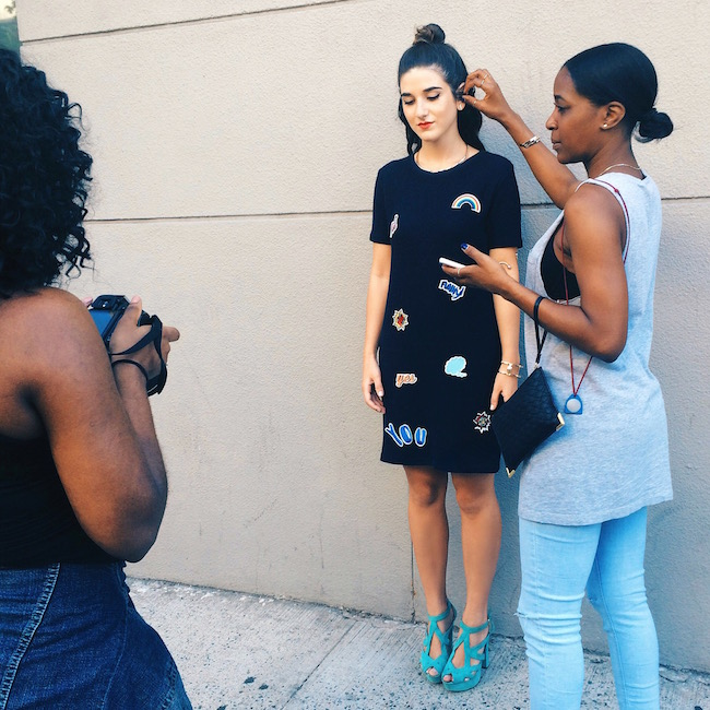 On Set With Lydell NYC Behind The Scenes Louboutins & Love Fashion Blog Esther Santer Street Style Blogger Relaunch Jewelry Gold Silver Bracelets Necklaces Earrings Ear Cuff Collar Shoes Heels Dress Patches Zara TrendyGraffiti Wall Soho New York City.jpg