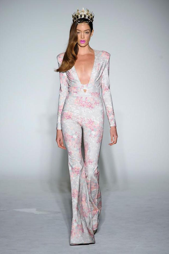 NYFW Michael Costello Fashion Show Spring Summer 2016 Louboutins & Love Fashion Blog Esther Santer NYC Street Style Blogger Designer Project Runway Outfit Crown Models Pretty Jumpsuit Bodysuit Colorful Pink Floral Green Emerald Trends Lace White Dress.jpg