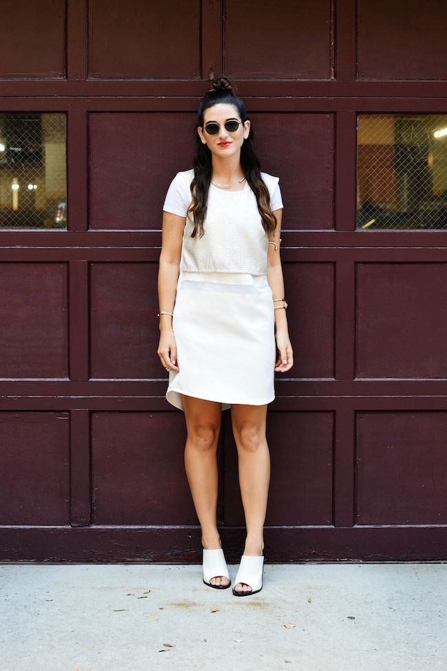 London Retro Sunglasses Giveaway Louboutins & Love Fashion Blog Esther Santer NYC Street Style Blogger Giveaway Shopping Girl Model Photoshoot Bracelet Jewelry Gold Collar Necklace Lydell Jewelry Topknot Brunette Hair White Dress Outfit OOTD Mules Tee.jpg