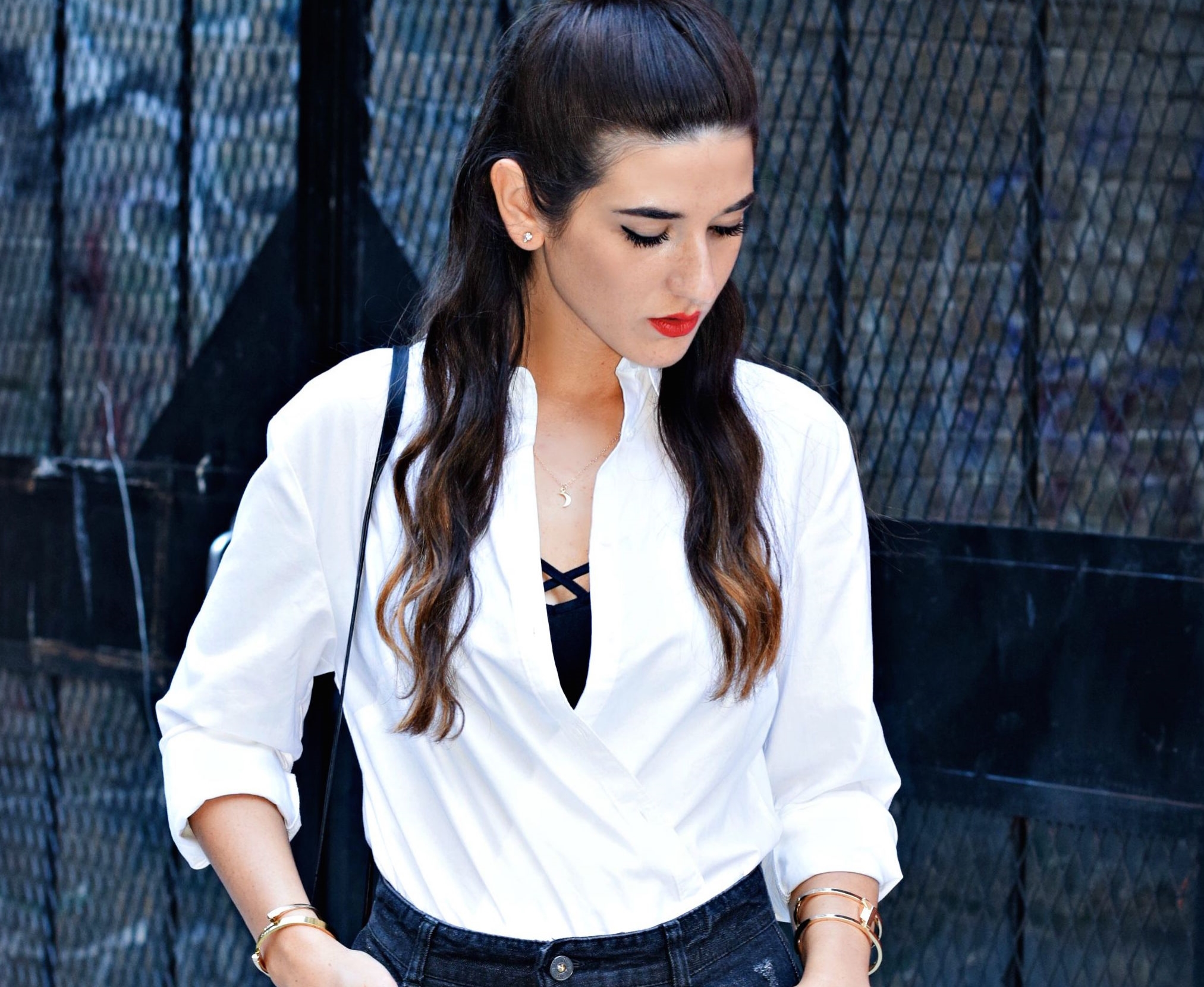 Coco & Marie Moon Necklace Giveaway Louboutins & Love Fashion Blog Esther Santer NYC Street Style Blogger Lifestyle Topknot Bun Denim Ripped Jean Skirt White Button Down Zara Black Box Clutch Bag Bralette Nordstrom Booties Gold Jewelry Women Girl Shop.JPG