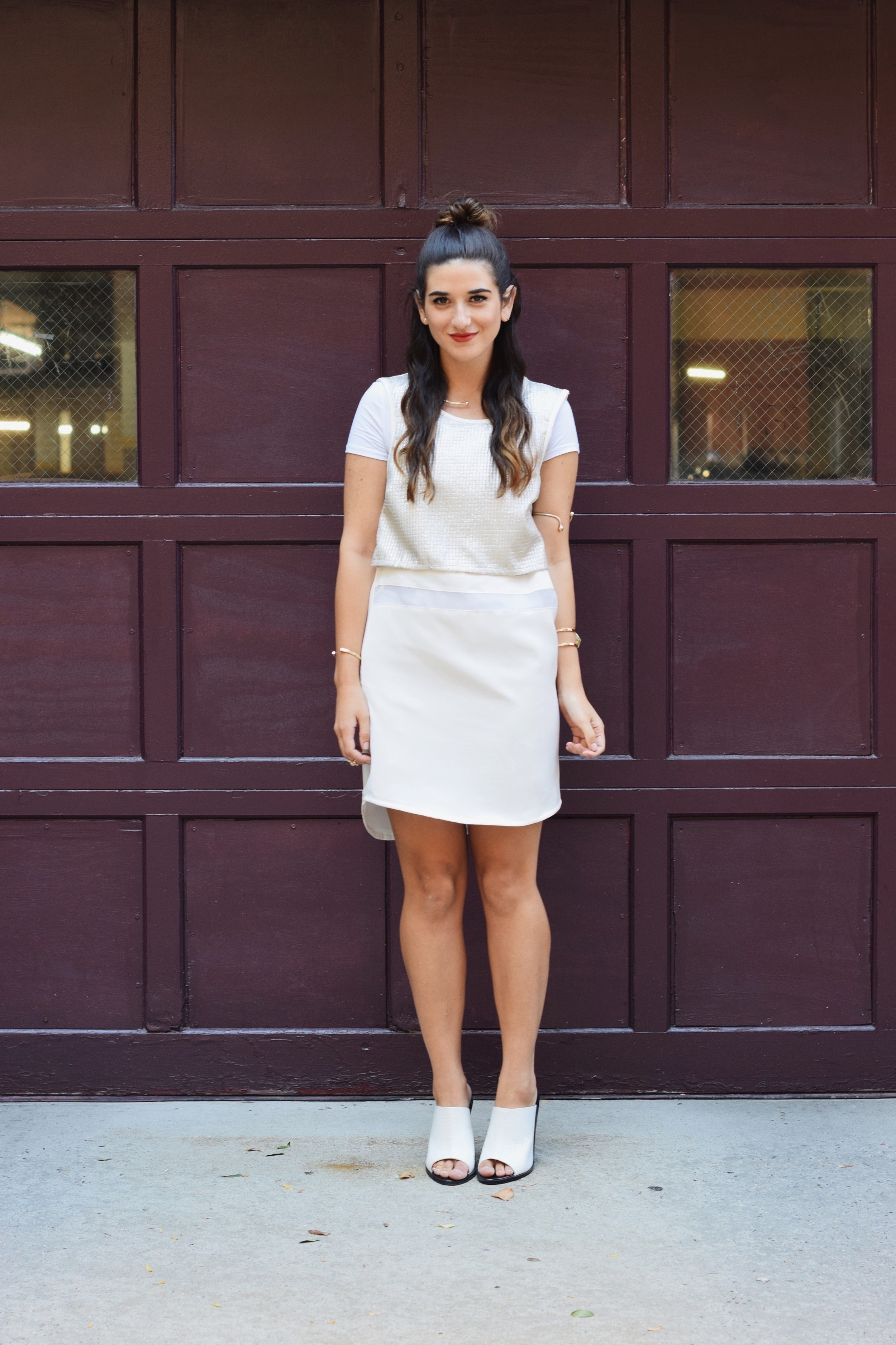 All White Look Gold Jewelry Louboutins & Love Fashion Blog Esther Santer Street Style NYC Blogger Lydell NYC Lumier Bariano Red Light PR Collab IfChic Mod Mules Topknot Hair Girl Model Photoshoot Collar Necklace Bracelet Dress OOTD Outfit Summer Shop.jpg