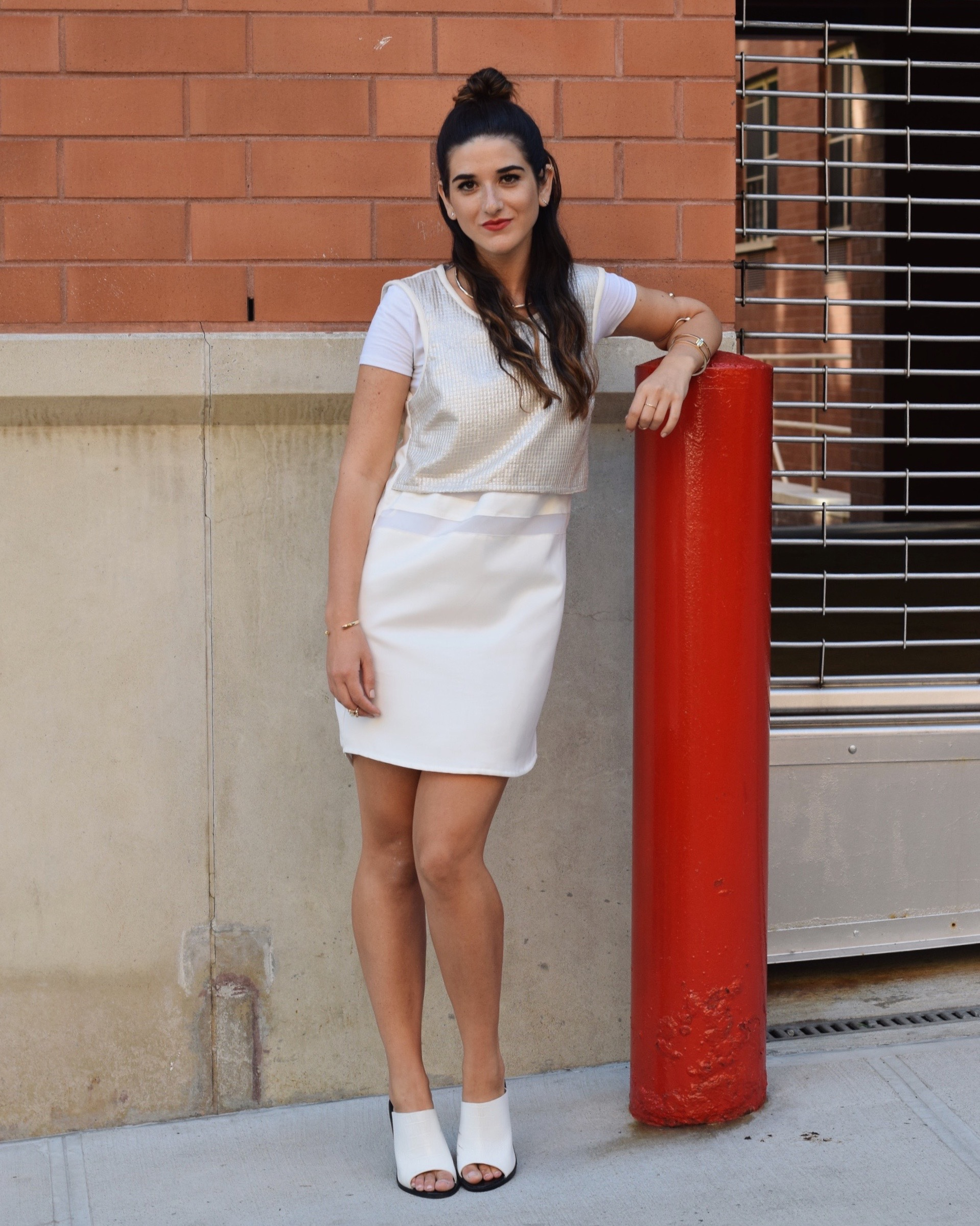 All White Look Gold Jewelry Louboutins & Love Fashion Blog Esther Santer Street Style NYC Blogger Lydell NYC Lumier Bariano Red Light PR Collab IfChic Mod Mules Topknot Hair Girl Model Photoshoot Collar Necklace Bracelet Dress OOTD Outfit Summer Women.jpg